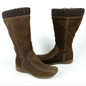 Aldo Brown Suede Sweater Cuff Knee High Flat Boots